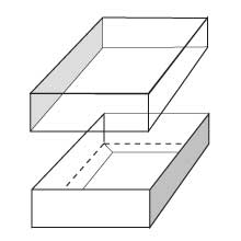 Line drawing of two part shallow gift box with transparent lid