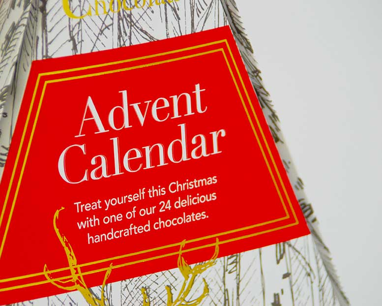 A specialist custom designed advent calendar for a premium chocolatier